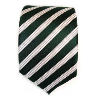 TigerTie Seidenkrawatte grün dunkelgrün weiss silber gestreift - Krawatte Seide - Vorschau 2