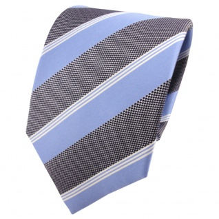 Satin Seidenkrawatte blau grau schwarz silber gestreift - Krawatte Seide Tie