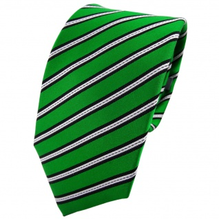 Enrico Sarto Seidenkrawatte grün schwarz silber gestreift - Krawatte Seide Tie