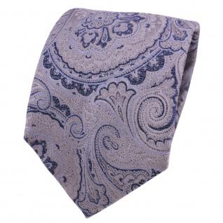 Designer Seidenkrawatte grau blau silber Paisley gemustert - Krawatte Seide Silk