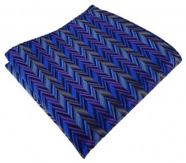 TigerTie Designer Seideneinstecktuch in blau lila grau anthrazit gemustert