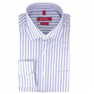 Ben Green Herrenhemd blau weiß bügelfrei langarm - New-Kent-Kragen Hemd Gr.41