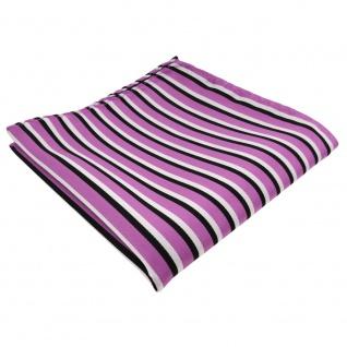 TigerTie Einstecktuch in rosa dunkelrosa schwarz weiß - Tuch 100% Polyester