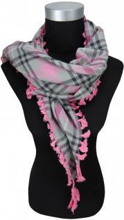 Halstuch rosa grau schwarz kariert mit Fransen an zwei Seiten -Gr. 100 x 100 cm