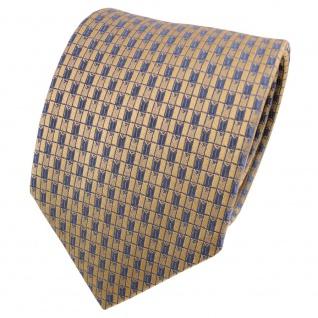 TigerTie Satin Seidenkrawatte gold grau blaugrau kariert - Krawatte Seide Tie
