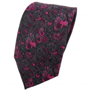 TigerTie Krawatte magenta lila schwarz grau gemustert Paisley - Binder Tie