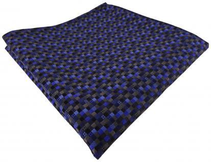 TigerTie Einstecktuch in blau anthrazit schwarz gemustert - Tuch 100% Seide