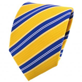 schöne TigerTie Designer Krawatte gelborange blau weiß gestreift - Binder Tie