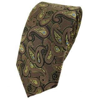 Modische TigerTie Krawatte in braun gold blau schwarz Paisley gemustert