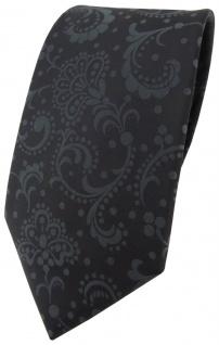 TigerTie Designer Krawatte in schwarz anthrazit Paisley gemustert