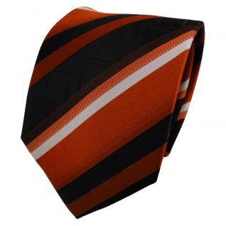 TigerTie Designer Seidenkrawatte orange schwarz silber gestreift- Krawatte Seide