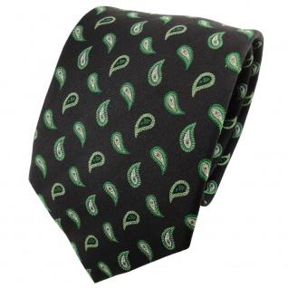 TigerTie Seidenkrawatte grün grasgrün schwarz silber tropfenmuster - Seide Silk