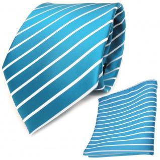 schöne TigerTie Krawatte + Einstecktuch türkis türkisblau weiß silber gestreift
