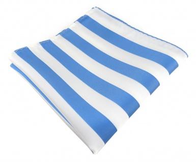 TigerTie Einstecktuch in blau weiss gestreift - Stecktuchgröße 30 x 30 cm