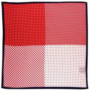 TigerTie Multi Designer Seideneinstecktuch in rot weiß marine gemustert