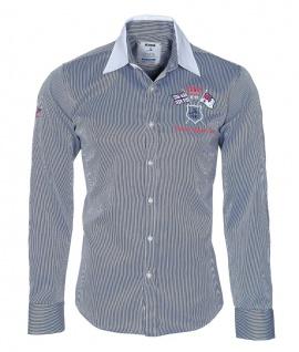 Pontto Designer Hemd Shirt in blau weiß gestreift langarm Modern-Fit Gr.S