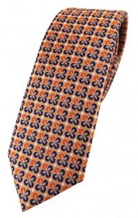 schmale TigerTie Designer Krawatte in orange silber marine gemustert