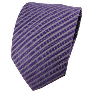 schöne TigerTie Designer Krawatte violett grau gestreift - Binder Tie Cravate