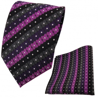 schöne TigerTie Krawatte + Einstecktuch lila schwarz anthrazit silber gestreift - Vorschau 2