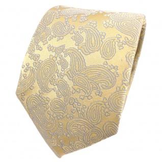 Designer Seidenkrawatte gold hellgold grau Paisley gemustert - Krawatte Seide