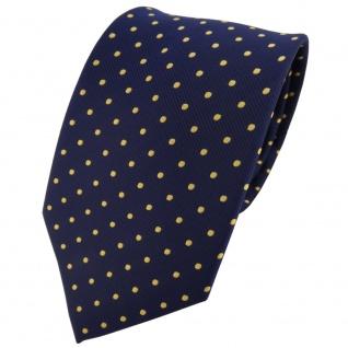 TigerTie Krawatte blau dunkelblau marine gold gepunktet - Binder Tie