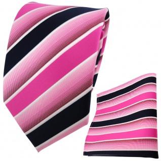 TigerTie Krawatte + Einstecktuch in pink rosa dunkelblau weiß gestreift