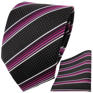 TigerTie Designer Krawatte+Einstecktuch magentarosasilberweiss schwarz gestreift