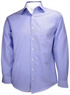 Ben Green Hemd in blau weiss kariert langarm bügelfrei - Kent-Kragen Hemd Gr. 47