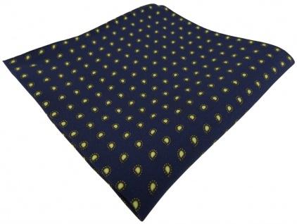 TigerTie Seideneinstecktuch in marine dunkelblau gelb - kleines Paisley Muster