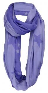 TigerTie Loop Schal in lila blaulila Sternenmuster - Gr. 160 x 100 cm