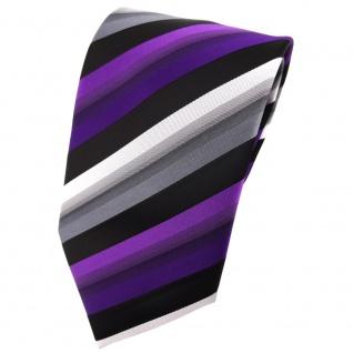TigerTie Krawatte lila violett silber grau schwarz gestreift - Tie Binder
