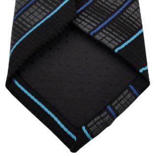 Schmale TigerTie Krawatte schwarz anthrazit türkis blau gestreift - Binder Tie - Vorschau 4