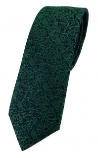 TigerTie - schmale Designer Krawatte in grün schwarz florales Muster