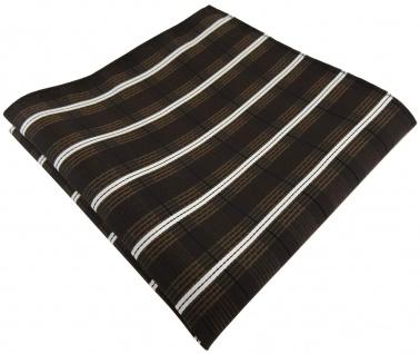 TigerTie Einstecktuch braun dunkelbraun creme schwarz gestreift - Gr. 30 x 30 cm
