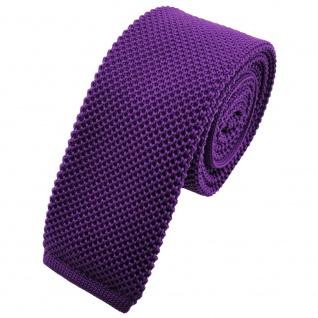 TigerTie - schmale Strickkrawatte lila violett einfarbig uni