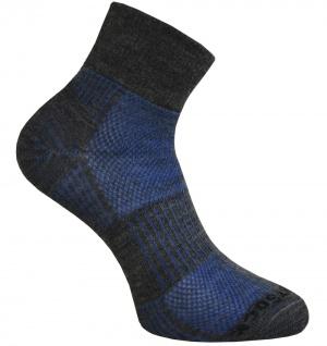 WrightSock Sportsocke blau mittellang Coolmesh II Merino Wolle anti-blasen Gr. S