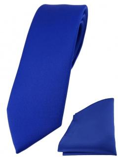 schmale TigerTie Designer Krawatte + Einstecktuch in dunkles royalblau einfarbig