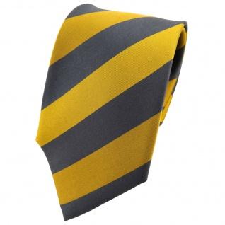 TigerTie Seidenkrawatte gelb gold anthrazit grau gestreift - Krawatte Seide Tie