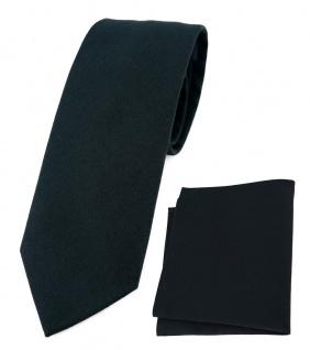 TigerTie Krawatte + Einstecktuch aus 100% Baumwolle in schwarz Uni einfarbig