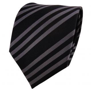 TigerTie Designer Seidenkrawatte anthrazit schwarz gestreift- Krawatte Seide