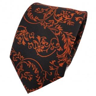 TigerTie Designer Seidenkrawatte orange kupfer schwarz gemustert- Krawatte Seide
