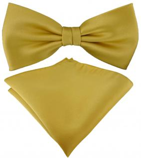 TigerTie Satin Fliege + TigerTie Einstecktuch in gold Uni Einfarbig + Box