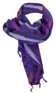 Halstuch lila violett pink braun grau gemustert mit Fransen -Gr. 100 x 100 cm
