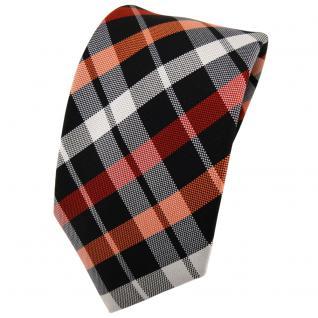 Enrico Sarto Seidenkrawatte orange schwarz silber grau kariert - Krawatte Seide