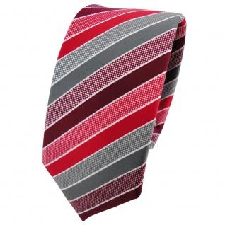Schmale TigerTie Designer Krawatte rot bordeaux grau silber gestreift - Binder