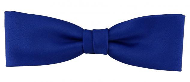 vorgebundete schmale TigerTie Fliege in blau royalblau Uni einfarbig + Box