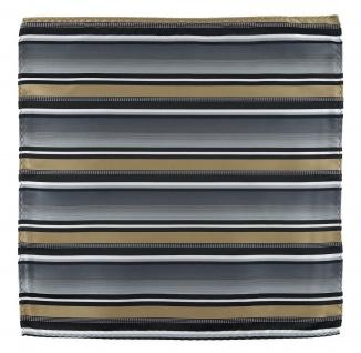 TigerTie Designer Einstecktuch in gold silber grau weiss schwarz gestreift - Vorschau 2