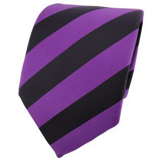 TigerTie Designer Satin Krawatte lila violett schwarz gestreift - Schlips Binder