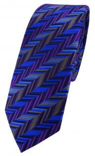 schmale TigerTie Designer Seidenkrawatte in blau lila grau anthrazit gemustert