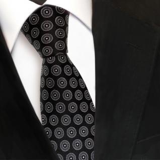 Designer Seidenkrawatte schwarz anthrazit silber gepunktet - Krawatte Seide Tie